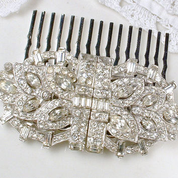 Hair Comb, Duette Dress Clips or Sash Brooch, 1920 Vintage Art Deco Pave Baguette Rhinestone Bridal Pin or Hair Accessory 1930s HeadPiece