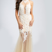 Halter Sheer Lace Gown 92080 - Prom Dresses