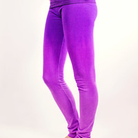 Hand Dyed Lavender and Purple Yoga Pants Leggings