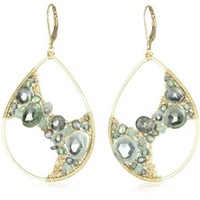 "Dana Kellin Aqua Mix Dramatic ""Aqua Mix"" Encrusted Teardrop Earrings"