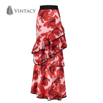 Vintacy Womens Long Skirt Boho Red Print Floral Pleated Ruffles Asymmetrical Maxi Skirt Female High Waist Sexy Summer Skirt 2017