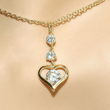 CLEARANCE SALE 40% Off - Gold Heart Necklace, Crystal Pendant, Heart Charm, Dainty chain, Everyday Jewelry