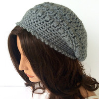 Girls or Teens Grey Slouchy Hat, Crochet Beanie, Fashionable Winter Cap
