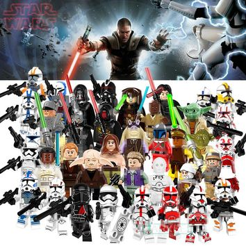 Single Star Wars Buildable Blocks Yoda Santa Jango Fett Clone Trooper Military Stormtrooper Elite Praetorian Guard Building Toys