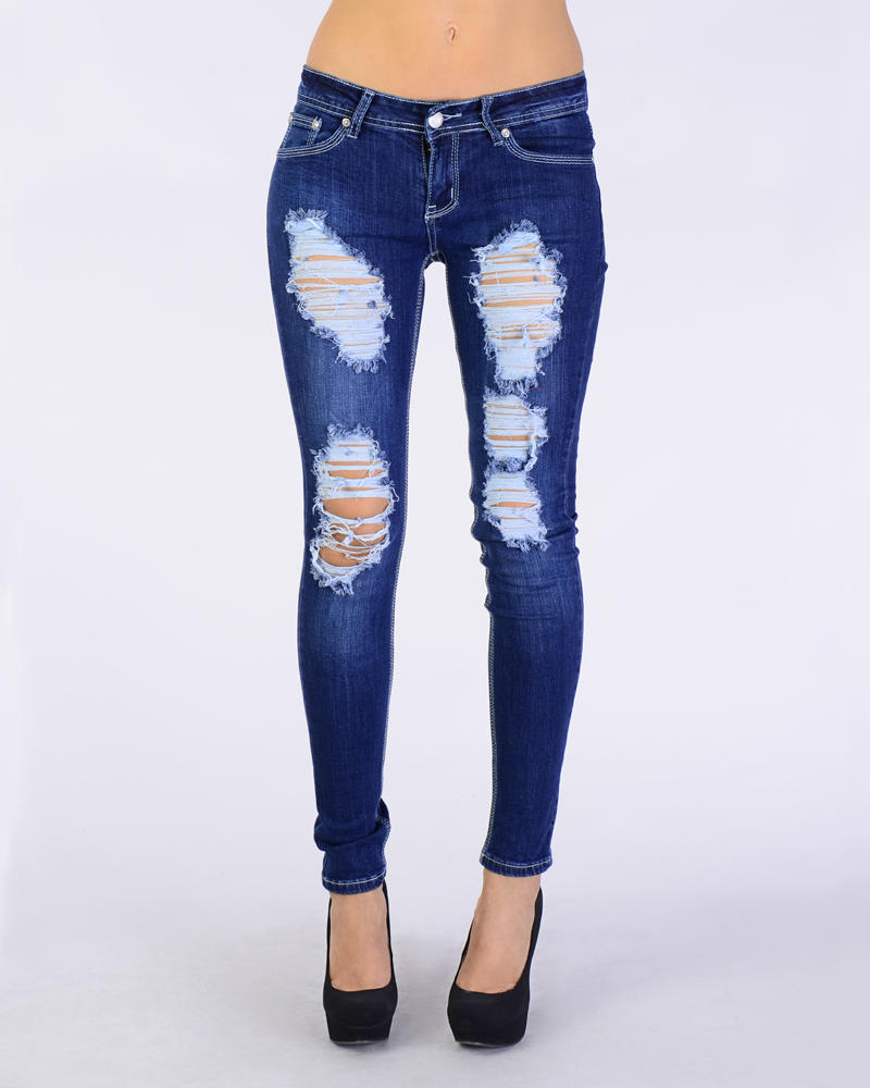 Lastest River Island Mid Wash Ripped Amelie Superskinny Jeans In Blue  Lyst