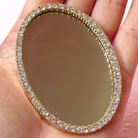 Mirror Cabochon with Clear Rhinestones in Luxcury Style (Oval / 67mm x 47mm) Kawaii Big Cabochon DIY Cell phone Deco CAB225