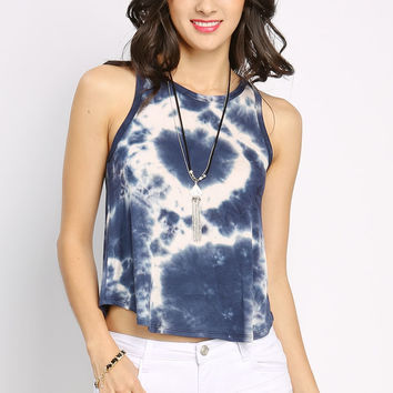 Tie-Dyed Sleeveless Crop Top