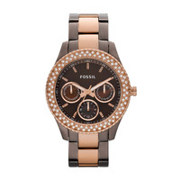 FOSSIL® Watch Styles Rose Watches:Watch Styles Stella Stainless Steel Watch - Brown and Rose ES2955
