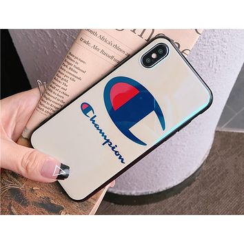 Champion 2018 personality letter iphone8X couple 7plus phone case F0484-1 white