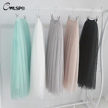 CWLSP 2017 Womens Lace Princess Fairy Style Voile Tulle Skirt Bouffant Puffy Fashion Skirt Long Skirt Tutu Skirt Summer A-line