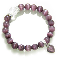 Cute Crystals and Purple Cats Eye Heart Good Luck Talisman Bracelet