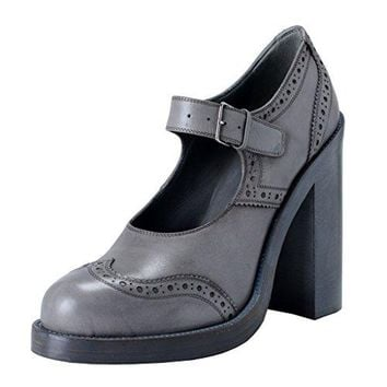 Miu Miu Women's Gray Leather High Heel Pumps Mary Janes Shoes
