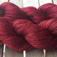 NEW! Hand Dyed Yarn - Oxblood Deep Red - Fine Lace 100% Mulberry Silk, Lace Weight Yarn 50gr