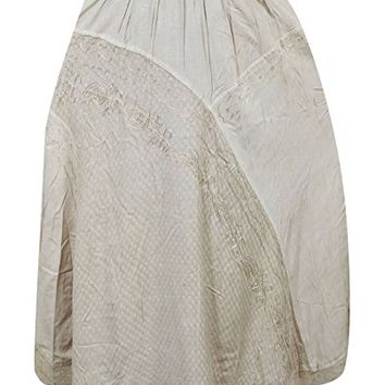 Mogul Womens Long Skirt Beige Embroidered Flare Flirty Festive Boho Maxi Skirts