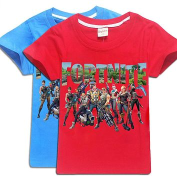 Fortnite 100%Cotton Minecraft Cartoon Children's clothing Casual Summer Tops Boys Girls Five Nights At Freddys Kids T Shirt tees