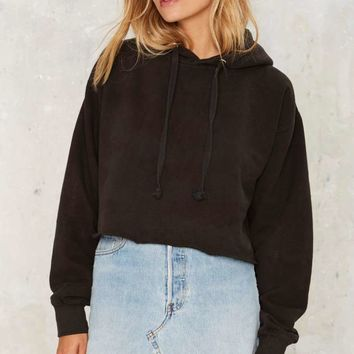 After Party by Nasty Gal You're a Champ Cropped Hoodie - Black