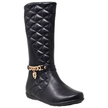 Kids Knee High Boots Quilted Leather Gold Train Trim Heart Charm Riding Shoes Black