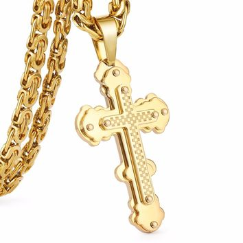 Jesus Cross Pendant Necklace Stainless Steel Men Jewelry Byzantine Link Chain Poplular Christian Colar Sliver Gold Color MN0056