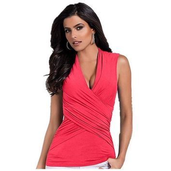 Deep V Neck Wraps Sexy Women Summer Bodycon Slim Sleeveless Tee Tops Tank Blouse  Xy3592
