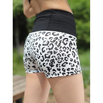 U Women's Running Shorts Leopard Print High Waist Pocket Sports  Fitness Shorts Workout Bottom Training Yoga Shorts Compression