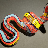 Multicolor Glass Snake Hand Blown Glass Smoking Pipe Spoon Style Bowl