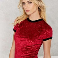The Ragged Priest Paisley For Itself Velvet Tee - Red