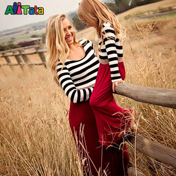 Mother Daughter Dresses Fashion Long Sleeve Striped Family Look Matching Clothes Cotton Mom And Daughter Dress Family Clothing 6