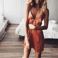 Spaghetti Straps Backless Pure Color Short Dress