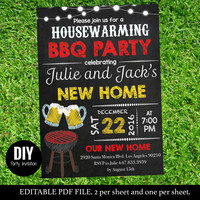 Chalkboard House warming BBQ party printable -  Housewarming BBQ party invitation  Instantly Downloadable and editable on Adobe - #DPI1243