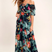 Infinite Love Navy Blue Print Off-the-Shoulder Maxi Dress