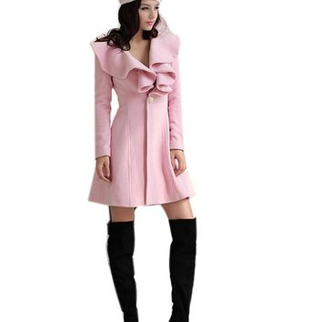 2017 New Women Winter Thick Warm Woolen Coat Cardigan Fashion Ruffled Collar Solid Slim Parka Long Jacket Trench Coat Plus Size