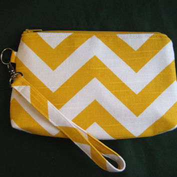 Zippered Wristlet iPhone Case Clutch Yellow by JanetElizabethLLC