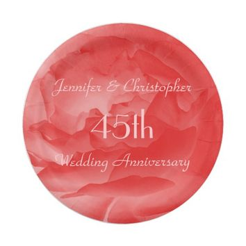Elegant Coral Pink Rose, 45th Wedding Anniversary Paper Plate