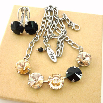 Swarovski crystal necklace,  5-stone 12mm, light peach, black, New Vision Crystal, GORGEOUS