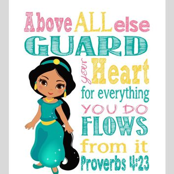 Jasmine Christian Princess Nursery Decor Wall Art Print - Above all else Guard your Heart - Proverbs 4:23 Bible Verse - Multiple Sizes