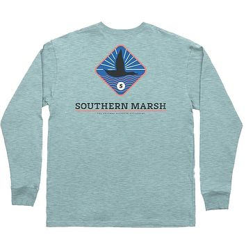 Branding - Flying Duck Long Sleeve Tee in Washed Moss Blue by Southern Marsh