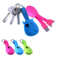 2 in1 Micro USB Cable Cow Keychain Charger Mobile Phone Cable For Smart Phone HU