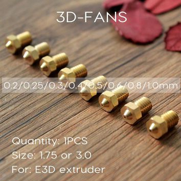 1Pcs E3DV6 Brass Nozzle 0.2/0.25/0.3/0.4/0.5/0.6/0.8/1.0 For 1.75mm 3mm Filament E3D V6  V5 Copper Nozzle Extruder Print Head