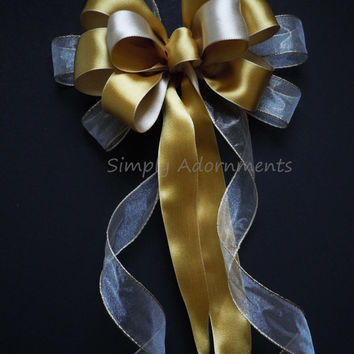 Shabby Chic Ivory Gold Wedding Bow Gold Ivory Christmas Tree Bow Winter Wedding Aisle Bow Ceremony Decorative Bow