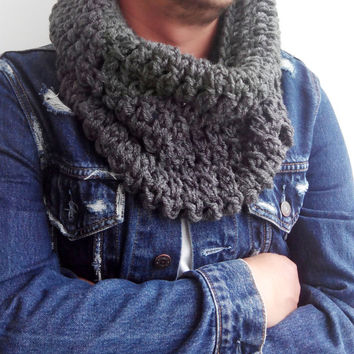 GRAY SCARF MENS Hand Crochet Scarf Soft Infinity Mens Braided Cable Boho Cowl Loop Crochet Slouchy Mens Scarf Slouch Beanie Hand Winter 1003