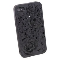 New 3D Sculpture Rose Flower for iPhone 4 4S 4G Hard Plastic Cover Case Black