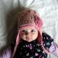 Infant Basket Weave Crochet Earflap Hat with cotton rose appliqe in pink , infants 3-9 months, ready to ship.