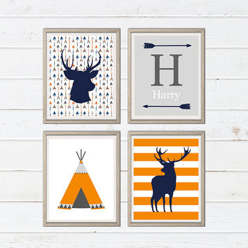Tribal Deer Teepee Wall Art - Nursery Art Print - Tribal Nursery Decor - Teepee Print - Tribal Decor - Deer Print - Baby Room Nursery Print