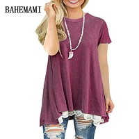 BAHEMAMI 2018 Summer Maternity Clothing lace Stitching Cotton Maternity tees Clothes for Pregnant Women Pregnant top Fashion