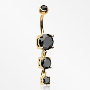 Golden Brilliant Gem Cascade Belly Button Ring