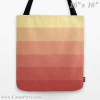 """Ombre """"Peach Rings"""" 13x13 Tote Bag Yellow Citrus Peach Melon Citrine Color Fade 16x16 18x18 Gift Her Him Spring Summer Back School Harvest"""