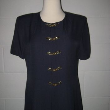 Vintage 1980s Navy Blue Dress / size XS / Petite / made in the USA