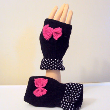 Knit Fingerless Gloves with Pink Bow Black Mittens Women Kids Clothing Fashion Accessories Gift Ideas