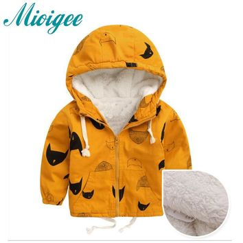 Mioigee 2017 jacket for boy Baby Jacket Hooded Boys Coat Cappotto Bimbo Baby Clothes Autumn Winter baby coat