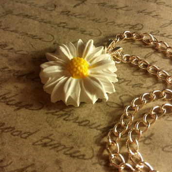 Daisy chain necklace daisy wildflower necklace white flower necklace mod charm necklace hand painted flower necklace two tone necklace